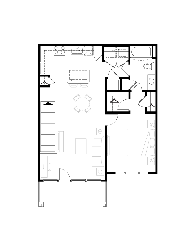 857 sq. ft. floor plan