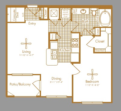 755 sq. ft. BELLAIRE floor plan