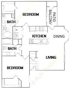 1,054 sq. ft. E floor plan