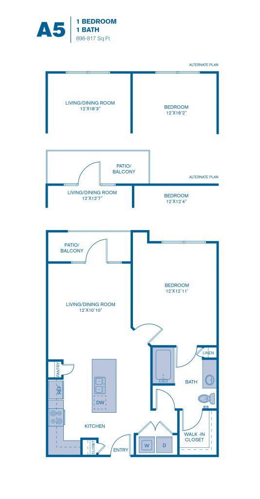 698 sq. ft. A5 floor plan