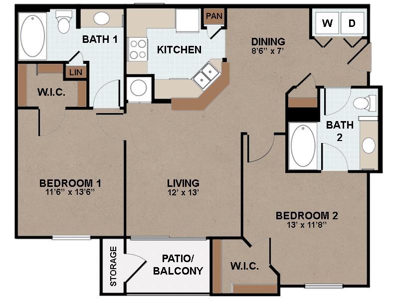 1,034 sq. ft. B1-60% floor plan