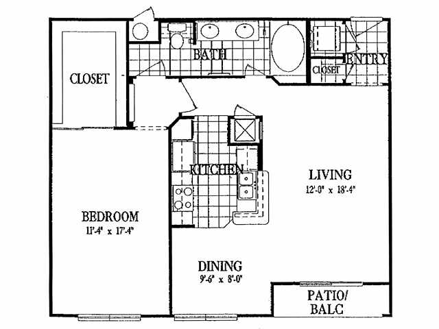 883 sq. ft. A6 floor plan