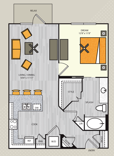 611 sq. ft. S3/S3.1 floor plan