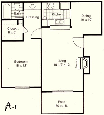 741 sq. ft. A1 floor plan