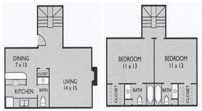 1,006 sq. ft. B2 floor plan