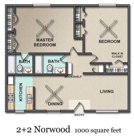 1,000 sq. ft. Norwood floor plan