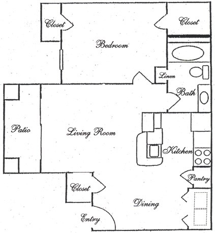 677 sq. ft. A5 floor plan