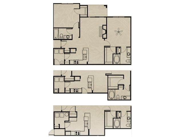 1,124 sq. ft. WNRB3A 2X2/ GARAGE floor plan