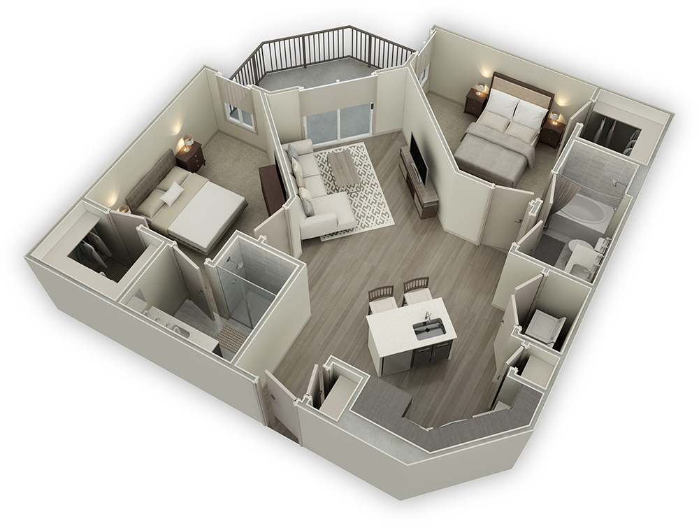 1,107 sq. ft. B2 floor plan