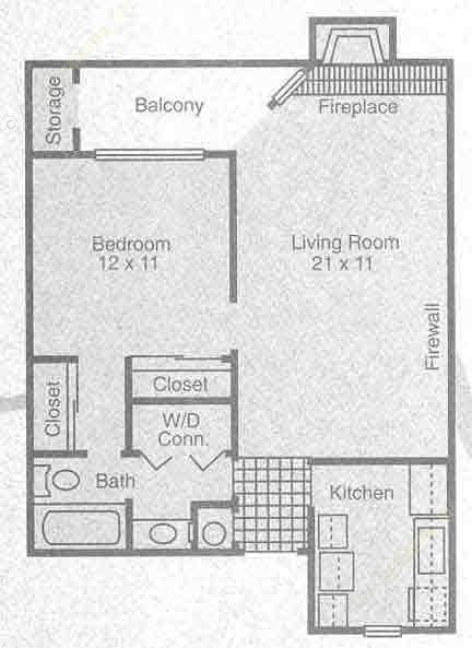 626 sq. ft. A1 floor plan