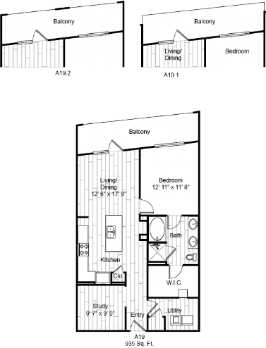 935 sq. ft. A19 floor plan