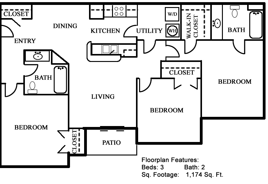 1,174 sq. ft. 50% floor plan