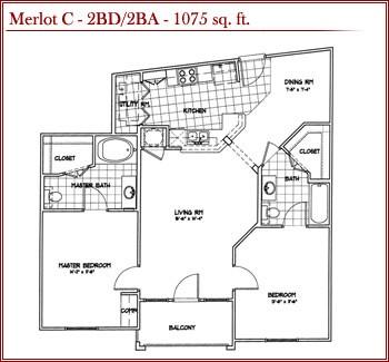 1,075 sq. ft. MERLOT C floor plan