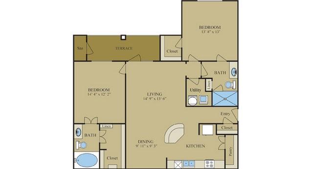 1,216 sq. ft. B4 floor plan