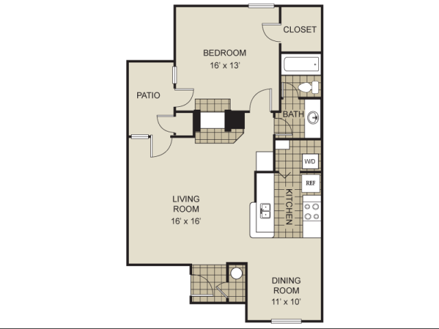 853 sq. ft. to 870 sq. ft. A11-C floor plan
