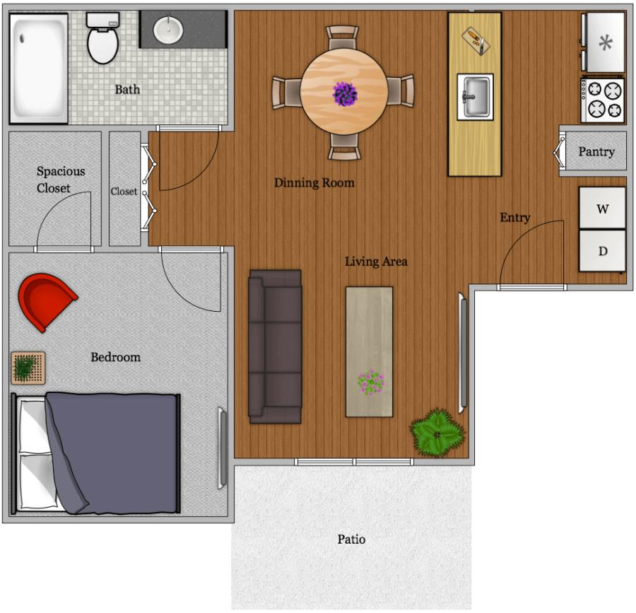771 sq. ft. A-2 floor plan