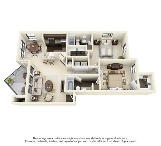 1,020 sq. ft. E floor plan