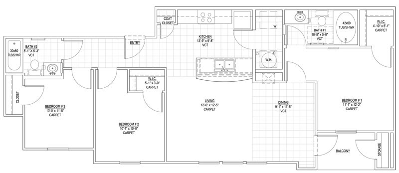 1,078 sq. ft. 60% floor plan