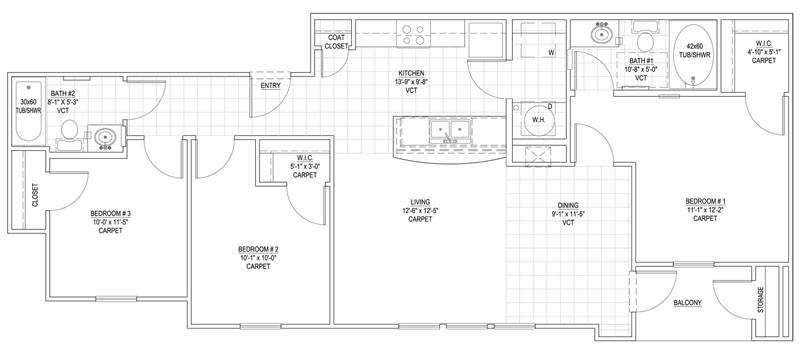 1,078 sq. ft. 60% floor plan