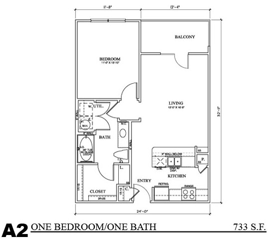 733 sq. ft. A3E floor plan