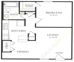 628 sq. ft. E floor plan