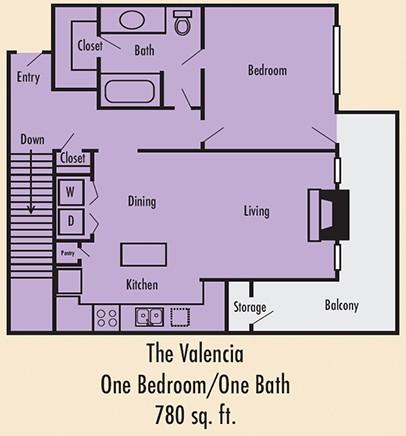 786 sq. ft. A3G floor plan