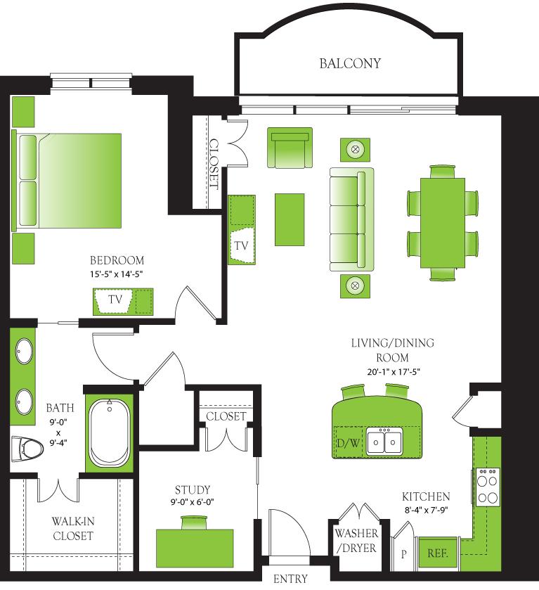 1,140 sq. ft. Blue Spruce floor plan