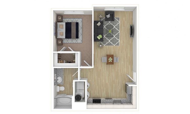690 sq. ft. A2.3 floor plan