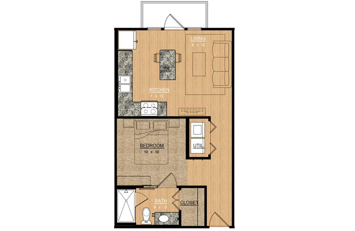 540 sq. ft. Camellia floor plan