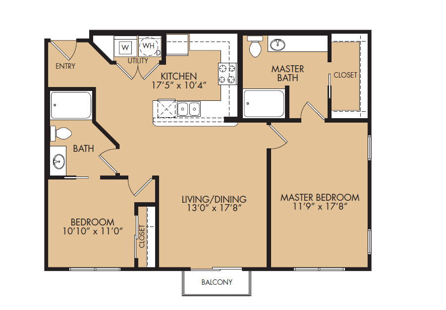 1,059 sq. ft. B2-Summit floor plan