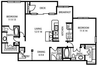 1,225 sq. ft. B4 floor plan