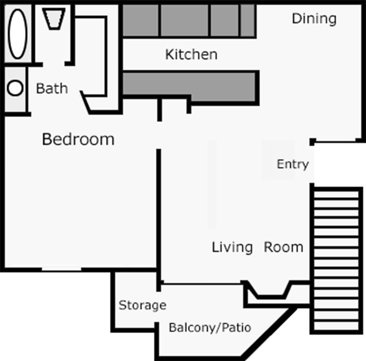 700 sq. ft. Sunflower floor plan