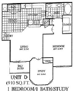 910 sq. ft. Dogwood floor plan
