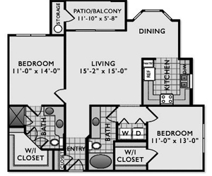 1,114 sq. ft. C3 floor plan