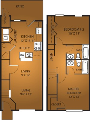 1,100 sq. ft. B2/60 floor plan