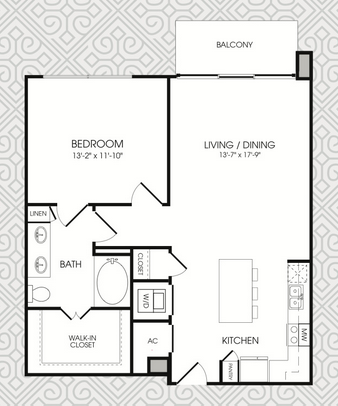 877 sq. ft. to 881 sq. ft. A6 floor plan