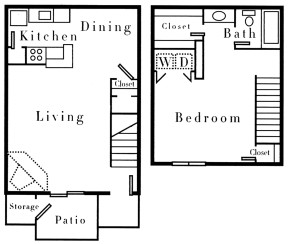 813 sq. ft. A2TH floor plan
