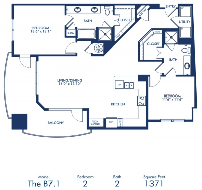 1,371 sq. ft. B7.1 floor plan