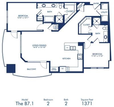 1,371 sq. ft. B7.1 floor plan