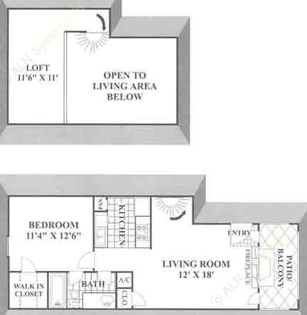 735 sq. ft. A2 floor plan