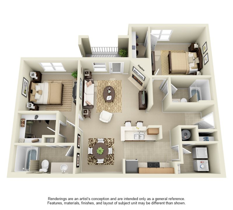 1,130 sq. ft. B2 floor plan