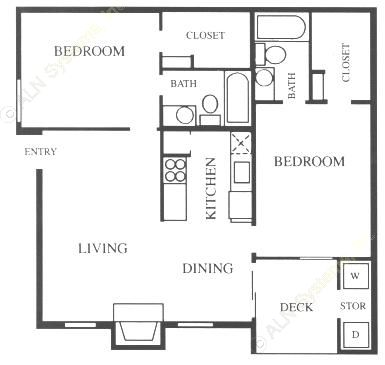 892 sq. ft. B1-Base floor plan