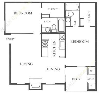 892 sq. ft. B1 floor plan