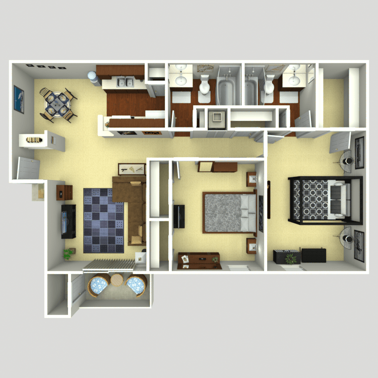 856 sq. ft. C1 floor plan