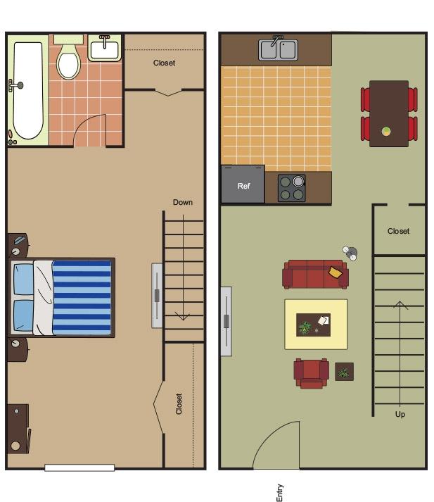 690 sq. ft. A-2 floor plan