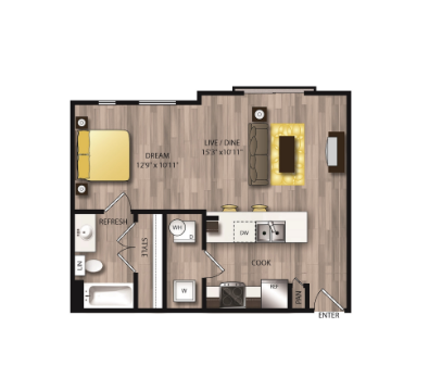 603 sq. ft. E1 floor plan