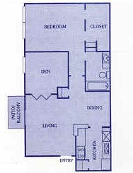 825 sq. ft. C floor plan