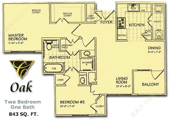 843 sq. ft. Oak/60% floor plan