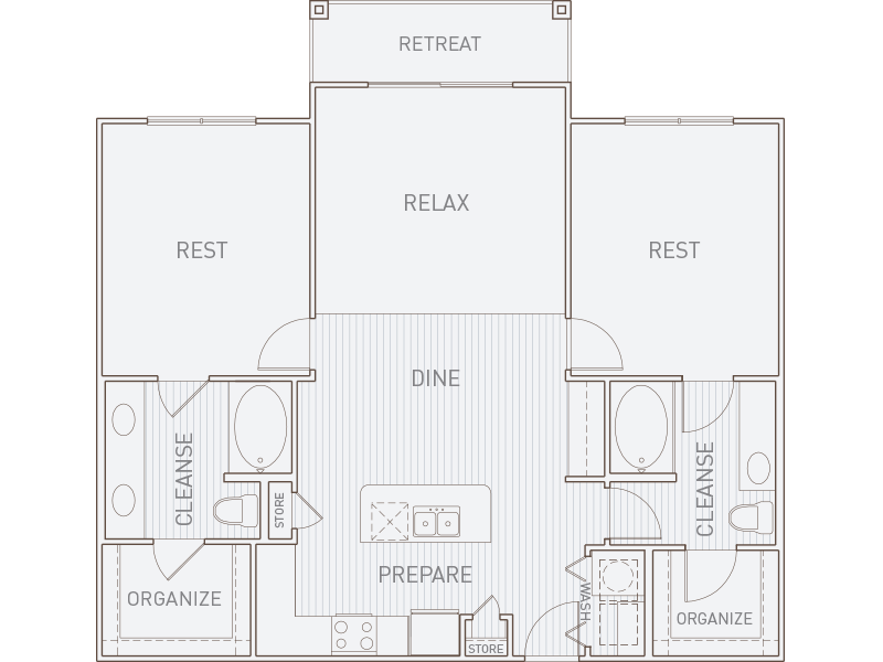 1,234 sq. ft. B2-T floor plan