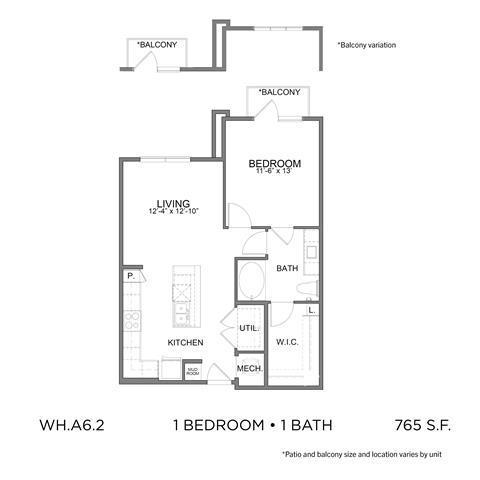 765 sq. ft. A6.2 floor plan